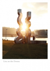 """Linz an der Donau - Skulptur """"Donauwellen"""" (Erich Reiter) an der Donaulände"""
